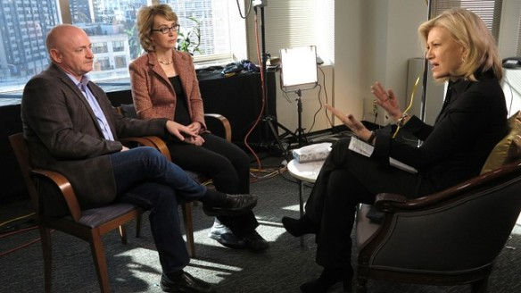 Gabrielle Giffords & Mark Kelly sit down with neanderthal newscaster Diane Sawyer to discuss how 2+2 = 4.